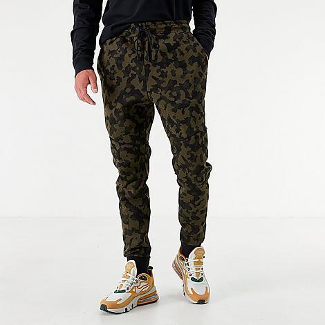 Nike Men's Sportswear Allover Print Tech Fleece Jogger Pants in Green Size Medium Cotton/Polyester/Fleece