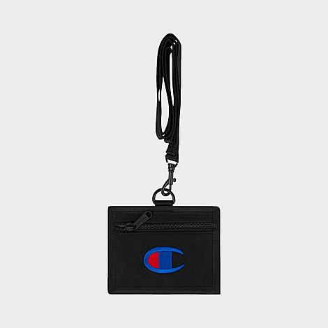 Champion Lifeline Lanyard Pouch in Black/Black Nylon/100% Polyester/Twill Lightweight and durable nylon twill construction Lanyard with removable strap for easy wear Card holder with zippered closure Clear ID window Embroidered Champion branding Dimensions: 4  L x 5  W 100% polyester The Champion Lifeline Lanyard Pouch is imported. Your must-haves are safe and close at hand with a little help from the Champion Lifeline Lanyard Pouch. Slip it around your neck and pack it with your credit card and ID for easy access wherever you go. Size: One size. Color: Black. Gender: male. Age Group: adult. Material: Nylon/100% Polyester/Twill. Champion Lifeline Lanyard Pouch in Black/Black Nylon/100% Polyester/Twill
