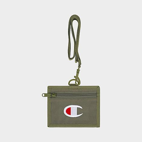 Champion Lifeline Lanyard Pouch in Green/Olive Cargo Nylon/100% Polyester/Twill Lightweight and durable nylon twill construction Lanyard with removable strap for easy wear Card holder with zippered closure Clear ID window Embroidered Champion branding Dimensions: 4  L x 5  W 100% polyester The Champion Lifeline Lanyard Pouch is imported. Your must-haves are safe and close at hand with a little help from the Champion Lifeline Lanyard Pouch. Slip it around your neck and pack it with your credit card and ID for easy access wherever you go. Size: One size. Color: Green. Gender: male. Age Group: adult. Material: Nylon/100% Polyester/Twill. Champion Lifeline Lanyard Pouch in Green/Olive Cargo Nylon/100% Polyester/Twill