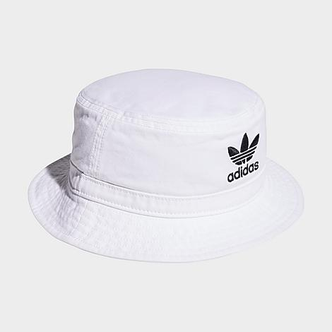 Durable, breathable material offers a comfortable wear adidas Trefoil embroidery lends classic style 360 short brim for next-level coverage 100% cotton The adidas Originals Washed Bucket Hat is imported. Block blazing rays or shield from elements, this all-season hat brings laid-back style to any look. The adidas Originals Washed Bucket Hat reads stylish and casual. A perfect pairing for any sporty-casual look, it pulls together any completed outfit with a relaxed vibe. Size: One Size. Color: White. Gender: unisex. Age Group: adult. Adidas Originals Washed Bucket Hat in White 100% Cotton