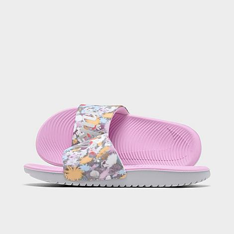 Nike NIKE GIRLS' BIG KIDS' KAWA FLORAL PRINT SLIDE SANDALS