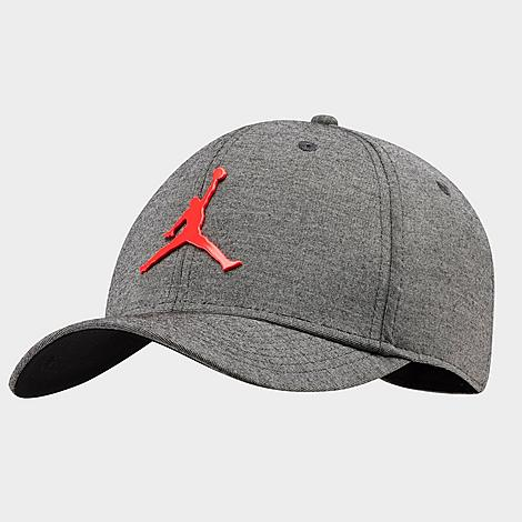 Classic, stylish trucker hat silhouette Cotton twill front for comfortable feel 100% cotton with mesh panels for breathability Adjustable snapback closure Metal Jumpman at front The Air Jordan Classic 99 Metal Jumpman Snapback Hat is imported. No matter what you wear, you\\\'re outfit will get a boost when you top it off with the Air Jordan Classic 99 Metal Jumpman Snapback Hat. Size: One Size. Color: Grey. Gender: unisex. Age Group: adult. Material: 100% Cotton/Twill. Jordan Air Classic 99 Metal Jumpman Snapback Hat in Grey 100% Cotton/Twill