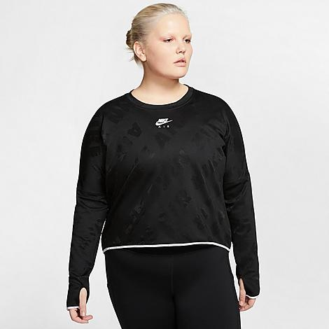 Nike Women's Air Midlayer Crew Training Top (Plus Size) in Black/Black Size 2X-Large Polyester/Spandex/Jacquard Size & Fit Standard fit has a relaxed feel Cropped hem is flattering and trend-right Elastic at hem and cuffs seal in the fit Product Features Poly and spandex blend fabric is boosted with Dri-FIT technology to wick away moisture Jacquard Nike Air allover print has a slight sheen Thumbholes at cuffs add extra coverage Dropped shoulder seams enhance mobility Reflective accents get you noticed 94% polyester, 6% spandex Machine wash The Nike Air Midlayer Crew Training Top is imported. Dress for warmth without bulk for your next training session in the Women's Nike Air Midlayer Crew Training Top (Plus Size). A cropped hem and cozy material combine with sweat-wicking technology to keep you comfortable and dry as you rack up the miles. Size: 2X-Large. Color: Black. Gender: female. Age Group: adult. Material: Polyester/Spandex/Jacquard. Nike Women's Air Midlayer Crew Training Top (Plus Size) in Black/Black Size 2X-Large Polyester/Spandex/Jacquard