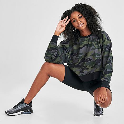 Nike Women's Dri-FIT Get Fit Camo Crop Training Crew Sweatshirt in Green/Grey/Thunder Grey Size X-Small Cotton/Polyester