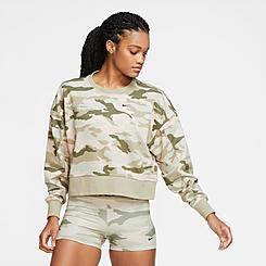 Women's Nike Dri-FIT Get Fit Camo Crop Training Crew Sweatshirt