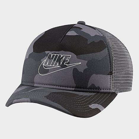 Classic, stylish trucker hat silhouette Cotton twill front for comfortable feel 100% cotton with mesh panels for breathability Adjustable snapback closure Embroidered Nike logo patch at front The Nike Sportswear Classic 99 Trucker Snapback Hat is imported. Size: One Size. Color: Grey. Gender: male. Age Group: adult. Material: 100% Cotton/Twill. Nike Men\\\'s Sportswear Classic 99 Trucker Snapback Hat in Grey 100% Cotton/Twill