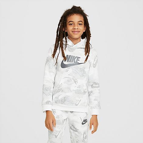 Nike Boys' Sportswear Club Fleece Printed Pullover Hoodie in White/Light Smoke Grey Size Large 100% Cotton/Polyester/Fleece