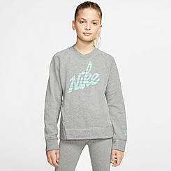 Girls' Nike Sportswear Graphic Logo Crewneck Sweatshirt