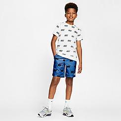 Boys' Nike Allover Corporate Print Woven Shorts