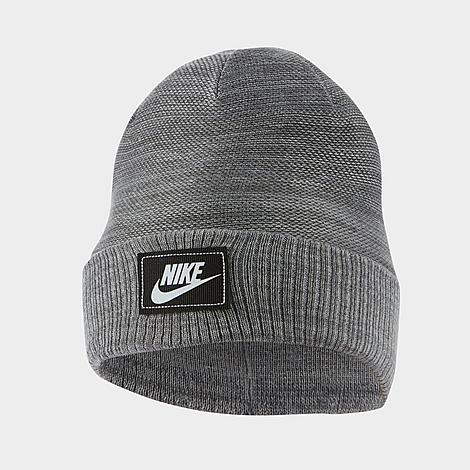 Stretchy, breathable reverse knit jacquard fabric for comfortable warmth Fold-over cuff for a classic look Stitched-on Futura logo label for Nike\\\'s signature sporty vibe Darting for a flattering fit 100% acrylic Hand wash The Nike Sportswear Cuffed Futura Beanie Hat is imported. Centered around a stitched-on logo brand tag for a classic, sporty vibe, the Nike Sportswear Cuffed Futura Beanie Hat is a must-have for blustery weather. With comfort and warmth as its focus, it\\\'s the perfect companion to dropping temps. Size: One Size. Color: Grey. Gender: male. Age Group: adult. Material: Acrylic/Knit/Jacquard. Nike Sportswear Cuffed Futura Beanie Hat in Grey Acrylic/Knit/Jacquard