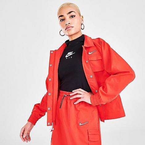 Nike Jackets NIKE WOMEN'S SPORTSWEAR SWOOSH WOVEN JACKET SIZE LARGE 100% POLYESTER