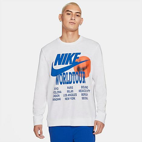 Nike Men's Sportswear World Tour Long-Sleeve T-Shirt in White/White Size Large 100% Cotton Size & Fit Standard fit is athletic and relaxed Long sleeves for enhanced coverage Product Features Heavyweight cotton is sturdy and comfortable Ribbed neckband and cuffs Bold graphics throughout 100% cotton Machine wash The Nike Sportswear World Tour Long-Sleeve T-Shirt is imported. Stand out from the crowd while maintaining your comfort with the Men's Nike Sportswear World Tour Long-Sleeve T-Shirt. Sturdy cotton and bold graphics team up on this must-have staple. Size: Large. Color: White. Gender: male. Age Group: adult. Nike Men's Sportswear World Tour Long-Sleeve T-Shirt in White/White Size Large 100% Cotton