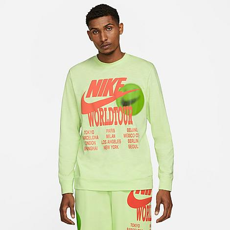 Nike Men's Sportswear World Tour Long-Sleeve T-Shirt in Green/Light Liquid Lime Size Medium 100% Cotton Size & Fit Standard fit is athletic and relaxed Long sleeves for enhanced coverage Product Features Heavyweight cotton is sturdy and comfortable Ribbed neckband and cuffs Bold graphics throughout 100% cotton Machine wash The Nike Sportswear World Tour Long-Sleeve T-Shirt is imported. Stand out from the crowd while maintaining your comfort with the Men's Nike Sportswear World Tour Long-Sleeve T-Shirt. Sturdy cotton and bold graphics team up on this must-have staple. Size: Medium. Color: Green. Gender: male. Age Group: adult. Nike Men's Sportswear World Tour Long-Sleeve T-Shirt in Green/Light Liquid Lime Size Medium 100% Cotton