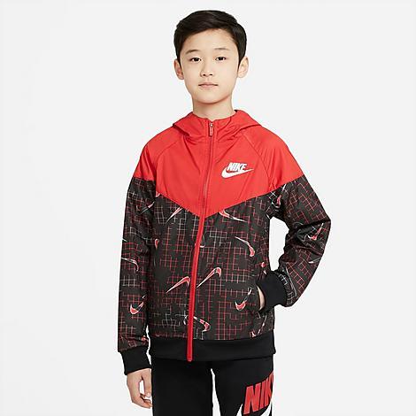 Nike NIKE KIDS' SPORTSWEAR ALLOVER PRINT SWOOSH WINDBREAKER JACKET