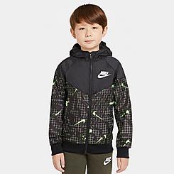Kids' Nike Sportswear Allover Print Swoosh Windbreaker Jacket