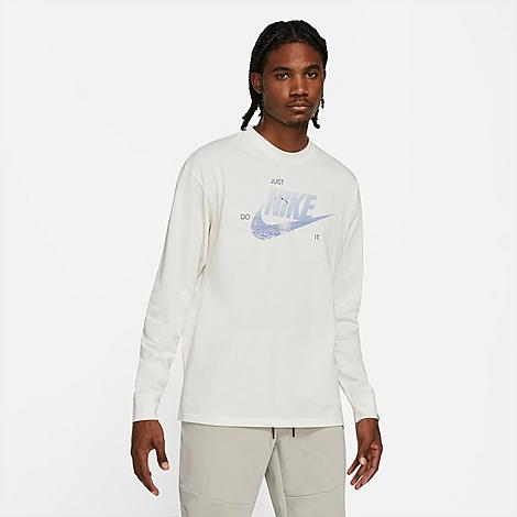 Nike Men's Sportswear Max 90 Graphic Long-Sleeve T-Shirt in White/Pure Size 3X-Large Cotton Size & FitStandard fit is athletic and relaxed Long sleeves enhance coverage Made from Sustainable MaterialsThis products is made from a blend of at least 75% recycled and organic material 57% cotton, 43% Product FeaturesBlended fabric is super soft and comfortable Ribbed neckband and cuffs enhance durability Bold graphics throughout for style Machine wash The Nike Sportswear Max 90 Graphic Long-Sleeve T-Shirt is imported. Step up and step out in style and sick confidence when you pair up the Men's Nike Sportswear Max 90 Graphic Long-Sleeve T-Shirt with your favorite joggers and Nike sneakers. Lightweight and boasting sustainable materials, this long-sleeve is a must-have. Size: 3X-Large. Color: White. Gender: male. Age Group: adult. Nike Men's Sportswear Max 90 Graphic Long-Sleeve T-Shirt in White/Pure Size 3X-Large Cotton