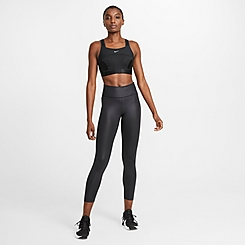Women's Nike One Faux-Leather Mid-Rise Cropped Leggings