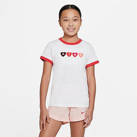 Nike NIKE GIRLS' SPORTSWEAR HEART RINGER T-SHIRT