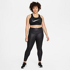 Women's Nike One Mid-Rise Faux Leather Cropped Training Tights (Plus Size)