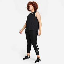 Women's Nike Dri-FIT Swoosh Run Mid-Rise Cropped Running Leggings (Plus Size)