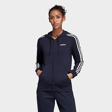 Slim fit is snug through the arms and body for a flattering look Soft fabric has a touch of stretch Full-Zip Front 3-Stripes branding at sleeves Hood with drawcords 92% cotton, 8% elastane single jersey The adidas Essentials 3-Stripes Full-Zip Hoodie is imported. Lounge in style or stay cozy post-workout in the Women\\\'s adidas Essentials 3-Stripes Full-Zip Hoodie. Size: Large. Color: Blue. Gender: female. Age Group: adult. Pattern: Striped. Material: Cotton/Jersey. Adidas Women\\\'s Essentials 3-Stripes Full-Zip Hoodie in Blue/Legend Ink Size Large Cotton/Jersey