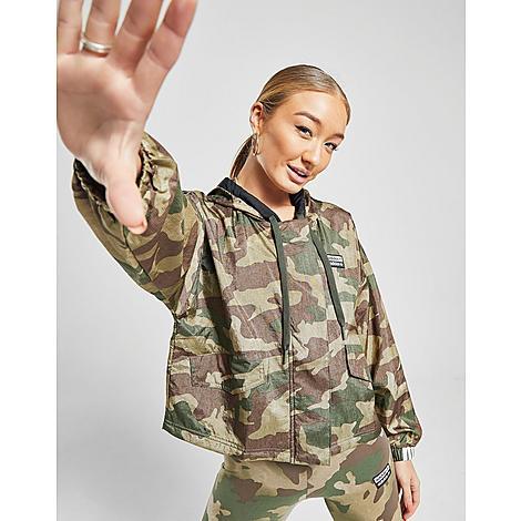 Adidas Women's Originals Windbreaker Jacket in Green/Brown Size X-Small Nylon