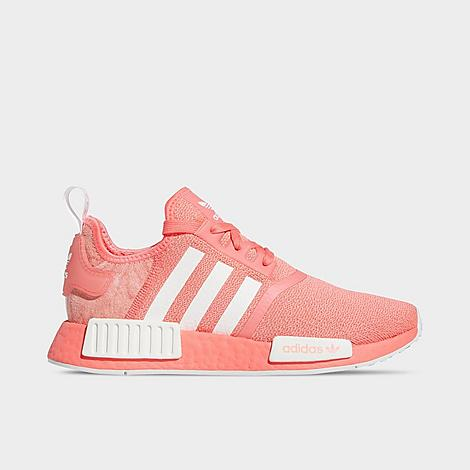 Women\\\'s adidas Originals NMD R1 Casual ShoesThe past meets the future on the instant athleisure hit Women\\\'s adidas Originals NMD R1 Casual Shoes. A low-key sneaker that combines retro \\\'80s adidas Originals running silhouettes with modern materials, the NMD R1 strikes an unassuming pose. Created by adidas Originals designer Nic Galway, the NMD was derived from the idea that there would be no deep archive dives to get design ideas, but that the old-school details everyone already had in their mind were the only elements worth keeping. Thus, the NMD was born, with nuances captured from such powerhouse 1980s running models as the adidas Originals Micropacer, the Boston Super, and the Rising Star. Over 30 years in the making, it\\\'s no wonder BOOST has been such a shelf-flying hit since it was introduced in 2013. The running meets lifestyle footwear game? Consider it changed. Sizing Information & Fit Runs Large: Consider sizing down from your usual shoe size for the best fit. Big Kids can rock these sneakers, too. Simply size up 1.5 sizes for the most comfortable fit. adidas Originals NMD R1 Casual Shoes features: A stylish sneaker with plenty of innovative features, the Women\\\'s adidas Originals NMD R1 brings running innovations to a casual silhouette Sock-like design enhance the fit and breathability Ventilated synthetic and textile upper Full-length Boost midsole cushioning EVA plugs for added comfort underfoot Rubber sole with traction pattern The adidas Originals NMD R1 is imported. Size: 5.5. Color: Pink. Gender: female. Age Group: adult. Adidas Women\\\'s Originals NMD R1 Casual Shoes in Pink Size 5.5