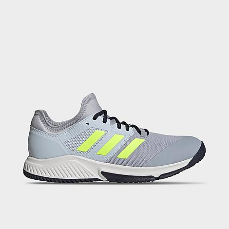 Adidas Men's Court Team Bounce Indoor Tennis Shoes In Halo Silver/yellow/halo Blue