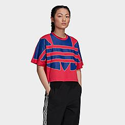 Women's adidas Originals Adicolor Large Trefoil Logo Crop T-Shirt