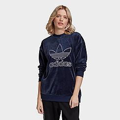 Women's adidas Originals Velour Trefoil Crewneck Sweatshirt