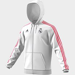 Men's adidas Real Madrid Soccer 3-Stripes Full-Zip Hoodie