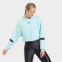 Women's Reebok Studio Cropped French Terry Crewneck Sweatshirt