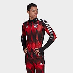 Men's adidas Bayern Munich Allover Print Half-Zip Training Top