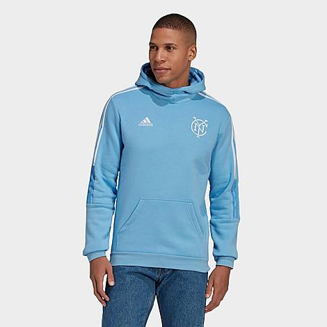 Adidas Team Adidas Men's New York City Fc Travel Hoodie In Bahia Light Blue