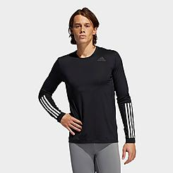 Men's adidas Techfit 3-Stripes Fitted Long-Sleeve T-Shirt