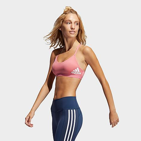 Adidas Women's All Me Light-Support Training Sports Bra in Pink/Hazy Rose Size X-Small Polyester Size & Fit Compression fit for light support Elastic underband provides low-impact support best for activities like stretching, yoga, and barre classes Product Features Polyester blend material with mesh lining is featherlight and breathable AEROREADY technology wicks away moisture Strappy racerback design for a flattering look Peached fabric for a soft feel Removable pads 79% recycled polyester, 21% elastane interlock Machine wash The adidas All Me Sports Bra is imported. Breathable and lightweight, the Women's adidas All Me Sports Bra delivers low-impact support in a stylish package. A strappy back design and adidas branding ensure you look as good as you feel in this breathable little number. Wear it on its own during yoga or barre class, or toss on a hoodie or jacket and strut your fashionable stuff to a coffee date. Size: X-Small. Color: Pink. Gender: female. Age Group: adult. Adidas Women's All Me Light-Support Training Sports Bra in Pink/Hazy Rose Size X-Small Polyester