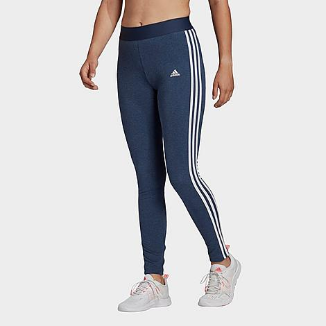 Adidas Women's Essentials 3-Stripes Leggings in Blue/Crew Navy Mel Size X-Small Size & Fit Slim, figure-hugging fit Elastic waist Product Features Stretchy and soft fabric Banded cuffs for a jogger silhouette 3-Stripes branding at the legs, Badge of Sport logo Machine wash The adidas Essentials 3-Stripes Leggings are imported. Classic and sporty, the Women's adidas Essentials 3-Stripes Leggings take you from light workouts to coffee dates in comfort and style. Size: X-Small. Color: Blue. Gender: female. Age Group: adult. Pattern: Striped. Adidas Women's Essentials 3-Stripes Leggings in Blue/Crew Navy Mel Size X-Small