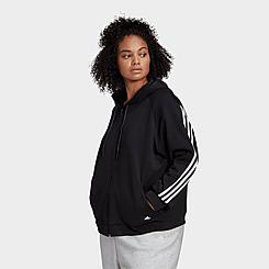 Women's adidas Sportswear Wrapped 3-Stripes Full-Zip Hoodie (Plus Size)
