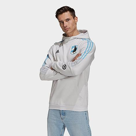Adidas Team Adidas Men's Minnesota United Fc Travel Hoodie In White/light Blue