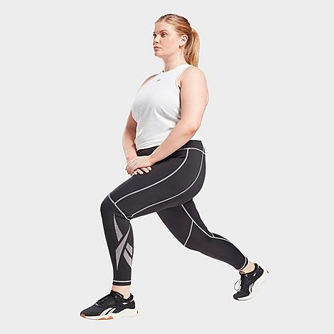 Reebok Women's Workout Ready Vector Leggings (Plus Size) in Black/Black Size Extra Large Polyester Size & Fit Tight, supportive fit High elastic waistband sits just right Made from Sustainable Materials These leggings are made with recycled materials, so you can feel as good as you look when you're wearing them 91% recycled polyester, 9% elastane interlock Product Features Stretchy fabric is smooth and absorbs moisture to keep you dry Vector design for heritage style Machine wash The Reebok Workout Ready Vector Leggings are imported. Primed and ready for any workout, the Reebok Workout Ready Vector Leggings are your new go-to for everything from strength classes to brunch with your girls. Size: Extra Large. Color: Black. Gender: female. Age Group: adult. Reebok Women's Workout Ready Vector Leggings (Plus Size) in Black/Black Size Extra Large Polyester