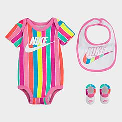 Girls' Infant Nike 3-Piece Bib and Booties Futura Stripe Box Set