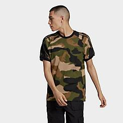 Men's adidas Originals Allover Print Camo 3-Stripes T-Shirt