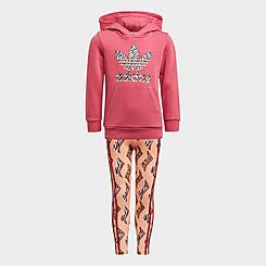 Girls' Toddler and Little Kids' adidas Originals Animal-Infill Pullover Hoodie and Leggings Set