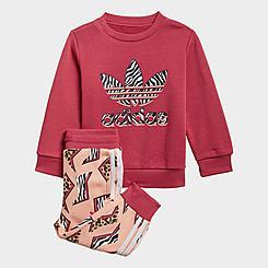 Girls' Infant and Toddler adidas Originals Animal-Infill Crewneck Sweatshirt and Jogger Pants Set