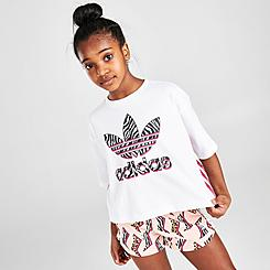 Girls' adidas Originals Zebra-Infill Trefoil Cropped T-Shirt