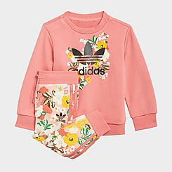 Girls' Infant and Toddler adidas Originals HER Studio London Floral Crew Sweatshirt and Jogger Pants Set