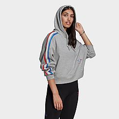 Women's adidas Originals Adicolor 3D Trefoil Cropped Hoodie