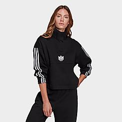 Women's adidas Originals Adicolor 3D Trefoil Fleece Half-Zip Sweatshirt