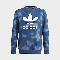 Kids' adidas Originals Allover Camo Print Crewneck Sweatshirt