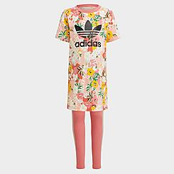 Girls' Toddler and Little Kids' adidas Originals HER Studio London Floral T-Shirt Dress and Leggings Set